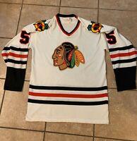 Vintage 1970s Chicago Blackhawks Sandow Sporting Sewn Jersey NHL Durene Sz M
