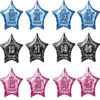 "13th-100th 20"" star aged foil birthday party balloon helium/air quality 3 colour"