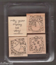 Stampin Up Very Merry Christmas Stamp Set Mounted Christmas Tree Angel Snowman