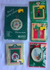 Christmas Cross Stitch Ornament Kits Lot of 5 Santa Teddy Bear Toy Soldier New