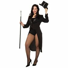 Ladies Tailcoat Jacket Ringmaster Magician Cabaret Adult Fancy Dress Costume