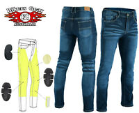 Australian Bikers Gear Motorcycle Trousers Stretch Jeans Lined with Kevlar BLUE