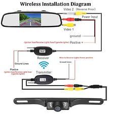 "WIRELESS CAR REAR VIEW KIT 4.3"" TFT LCD MIRROR MONITOR + IR LED REVERSING CAMERA"