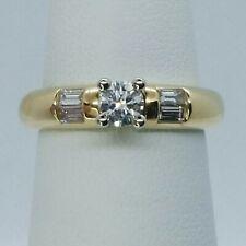 14K Yellow Gold Round Brilliant / Baguette Diamond Engagement Ring