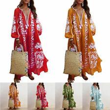 Boho Women's Loose V Neck Long Sleeve Maxi Dress Summer Casual Beach Sundress