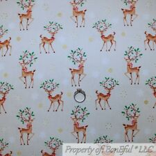 BonEful FABRIC Cotton Quilt Ivory Red Green Gold Dot Rein*Deer Buck Xmas L SCRAP