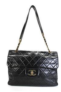 Chanel Womens Quilted Leather Extra Large Flap Shoulder Handbag Black