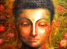 Enmarcado impresión cara De Buda (Imagen Cartel Arte Budista Budismo Religión)