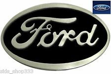 Ford Belt Buckle , Black Enamel Fill Pewter Finish US Seller
