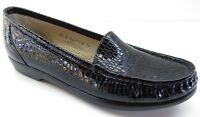SAS Simplify Black Croc Patent Leather Loafers Tripad Comfort 8.5S 8.5 Slim