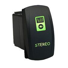 Rocker Switch 6B32G Laser STEREO LED green SPST CAR Truck UTV ATV offroad