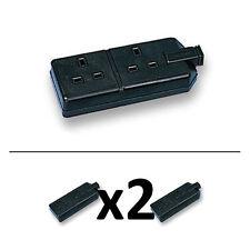 2 x permaplug NERO 2 Gang 13A gomma indurita Heavy Duty Trailing Extension SOCKET