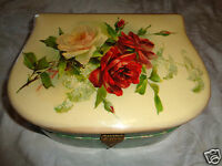 ANTIQUE VICTORIAN CELLULOID UNSGD C KLEIN PINK RED ROSES DRESSER JEWEL CASE BOX