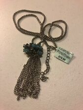 "Turquoise Colored Tassel Pendant 30"" Silver Coloerd Chain Necklace - MSRP $79.99"