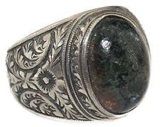 Sterling silver men ring, Steel pen Craft handmade, bloodstone natural