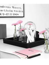 Amaris Elements | Tablett Leder schwarz eckig Schublade Serviertablett Kerzen