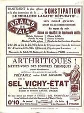 Réclame Pub Sel Vichy-Etat Grains de Vals Chemins de Fer  la Route des  1914 WWI