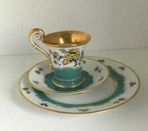 Antikes Kaffee Mokka Gedeck After Dinner Noon 3teilig Goldrand Handmalerei Rose