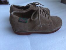Boys Bass Brown Suede Oxford Leather Upper Lace Up Dress Church Shoes Size 11.5