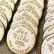Save the Date Wooden Personalised Engraved Rustic Disc Fridge Magnets Wedding