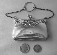 Antique Art Nouveau Floral EPNS Silver Lined Chatelaine Card Case Coin Purse