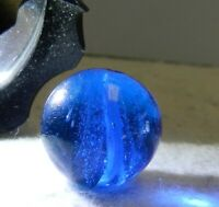 #12045m Vintage German Handmade Blue Glass Swirl Marble .65 Inches