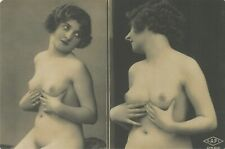 French nude woman Naked raises the chest real photo postcard REPRINT COPY