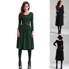 Fashion Women Autumn Winter Knit Long Sleeve Sweater Slim  Dress With Belt
