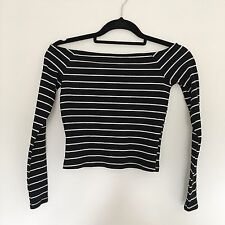 Miss Selfridge Petite Size 10 Also Fit Size 8 Striped Black And White Crop Top