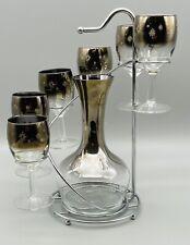 Vtg Dorothy Thorpe Mercury Ombre Starburst Glass and Decanter set w/Chrome Caddy