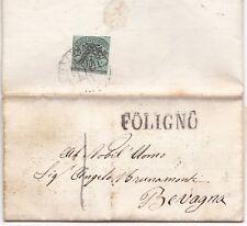 1857 ITALY FOLIGNO POSTMARK & GREEN BAJ 1 IMPERF STAMP FRANCO BOLLO POSTALE