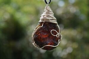 Handcrafted Silver Wire ROUGH SUMATRAN  LARGE AMBER Necklace * Healing * Reiki *