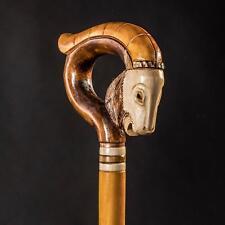 Fashionable He Goat Walking Cane for Men, Modern Wooden Stick, Carved & Handmade