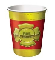 Firefighter 8 9 oz Hot Cold Paper Cups Fire Badge Birthday Party Fireman