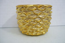 "Avon Glass Pine Cone Votive 2"" Tall Candle Holder Gold Color Replacement"