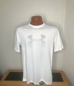 Mens Under Armour Heat Gear S/S Athletic T-Shirt Size Medium (M) White - Fitted