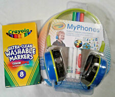 Blue Crayola Kids Volume-limiting Headphones with extra pens *New*