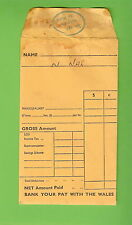 #D149. THE WALES BANK CASH WAGES PAY ENVELOPE, TRAVEL BACK