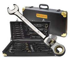 22Tlg Flexibel Ring Ratschen Satz Chrom Vanadium Stahl Aluminiumkoffer Werkzeuge
