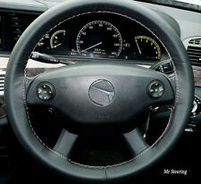 FOR MERCEDES E CLASS W212 09-15 TRUE BLACK LEATHER STEERING WHEEL COVER GREY ST