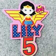 Wonder Woman PERSONALISED Cake Topper.  Lolly Bag Party Supplies Superhero Girls