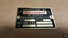Locomobile data plate Acid Etched Brass 1900 - 1912 + Bridgeport Connecticut