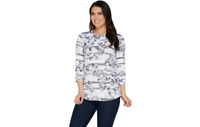 Denim & Co. Heavenly Jersey Floral Stripe Print Hi-Low Hem Top Grey S A303169 J