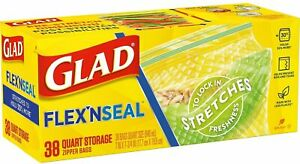 Glad Flex'N Seal Food Storage Bags, Quart – 38 Count - Zip Seal