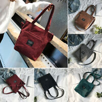 5Colors Women Corduroy Zipper Shoulder Bag Cotton Canvas Handbag Casual Tote