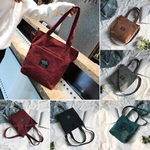 5 Colors Women Corduroy Zipper Shoulder Bag Cotton Canvas Handbag Casual Tote