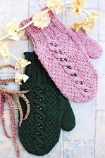 Cabin Fever Knitting Pattern #129 Beaded Cable Mittens - Uses 1 Skein Quick Knit
