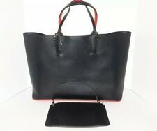 86e3e19aa6 Christian LOUBOUTIN Cabata Black Leather Tote Bag With Makeup Bag
