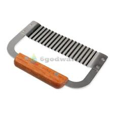 Hardwood Handle Crinkle Wax Vegetable Soap Cutter Wavy Slicer Stainless Steel