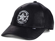 Lone Star Kings All Leather Curved Brim Snapback Snap Back Cap Hat Black / White